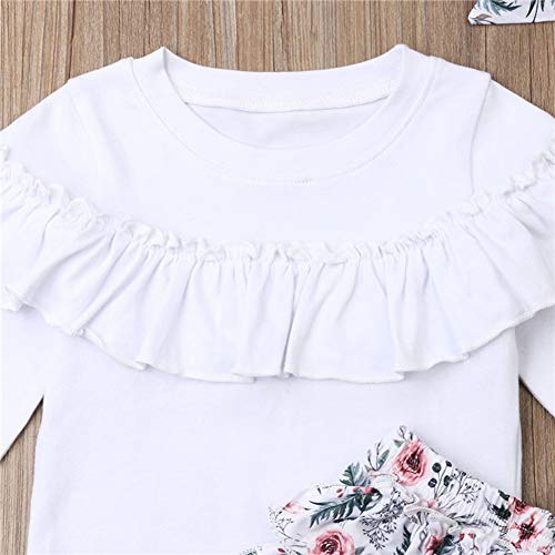 Styles I Love Baby Toddler Girls Fall Winter White Ruffle Long Sleeve Top and Floral Pants with Headband 3pcs Outfit