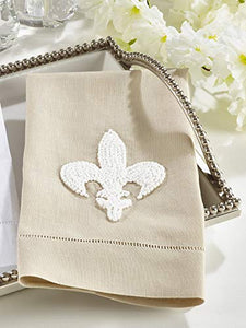 Fennco Styles Hand Embroidered and Hemstitched Fleur-De-Lis Guest Towel. 4 Pieces