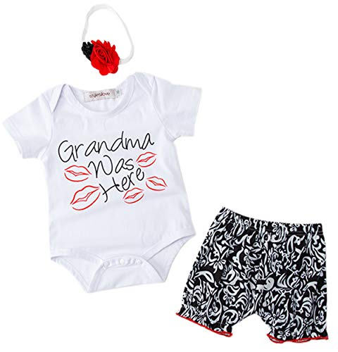 StylesILove Baby Girls Grandma was Here Short Sleeves Cotton Romper with Shorts and Headband 3pcs Summer Outfit
