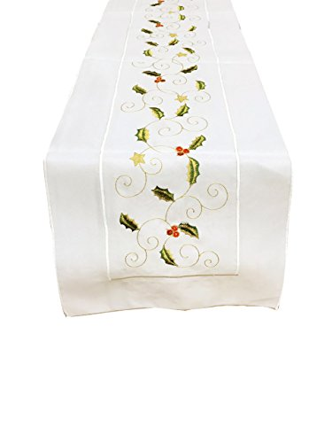 "Embroidered Holly Design Table Runner, 14""x72"" Rectangular"