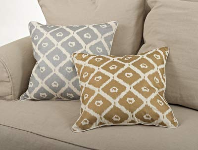 Ikat Design Cotton Decorative Throw Pillow with Down Filled Insert 20 x 20 Inch