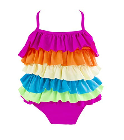 Kid Girls Cute Rainbow Ruffle Layer One-Piece Adjustable Straps Swimsuit Beach Bathing Suit
