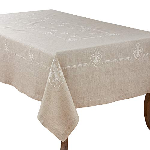 Fennco Styles Fabia Collection Elegant Embroidered Fleur de Lis Linen Blend 69 x 140 Inch Table Cloth – Natural Oblong Tablecloth for Dinner Party, Banquest, Special Events and Home Décor