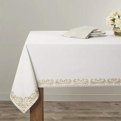 Fennco Styles Heidi Print Scroll Bordered Design Cotton Tablecloth 72 x 72 Inch