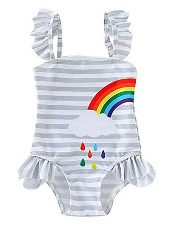 Baby Girl Matching Rainbow One-Piece Swimsuit Twin Girl