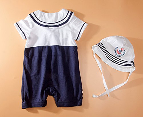 StylesILove Baby Boys Sailor Romper Onesie and Hat 2-Piece Set