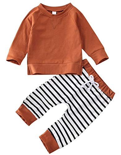 StylesILove Baby Boys Autumn Winter Brown Long Sleeve T-Shirt and Striped Pants 2pcs Cotton Outfit