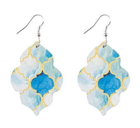 Styles I Love Women Girls Double Sided Paisley Moroccan Geometric Leather Earrings Lightweight Dangle Earrings