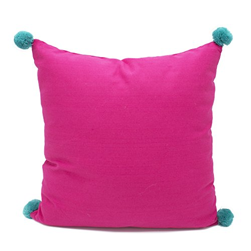 "Fennco Styles Decorative Solid Color Pom Pom Cotton Throw Pillow 18"" Square"