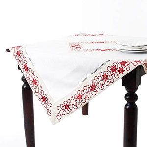 "Fennco Styles Francine Embroidered & Cutwork Holiday Ivory Tablecloth, 54-inch Square (54""x54"")"