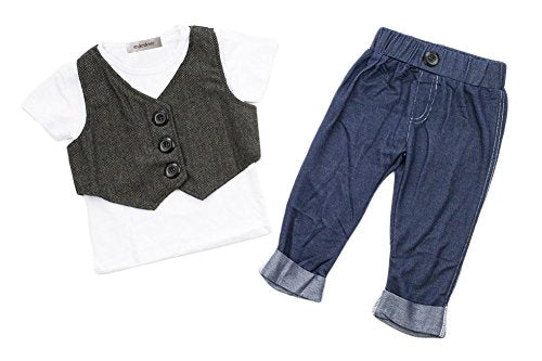 stylesilove Infant Toddler Kids Baby Boy Handsome Tee, Vest and Pants 3-pc Suit