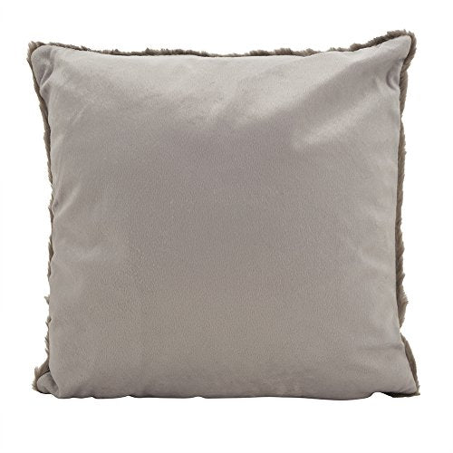 "Fennco Styles Faux Fur Plush Sable Poly Filled Decorative Throw Pillow 18"" W x 18"" L - Graphite Cushion for Home, Living Room, Bedroom and Office Decor"