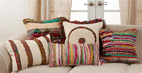 Fennco Styles Boho Circle Fringe Cotton Decorative Throw Pillow 20-Inch Square - Multicolored Cushion for Home, Couch, Living Room, Office and Bedroom Decor