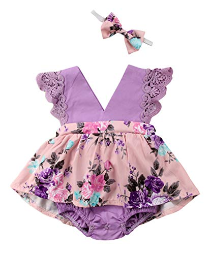 Styles I Love Baby Girl V-Neck Lace Cap Sleeve Purple Flower Romper Sunsuit with Headband 2pcs Set Summer Outfit