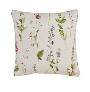 Fennco Styles Botanical Garden Collection Watercolor Floral Stem 100% Pure Linen 20 x 20 Inch Decorative Throw Pillow, Case + Insert - Floral Accent Pillows for Couch, Bedroom and Living Room Décor