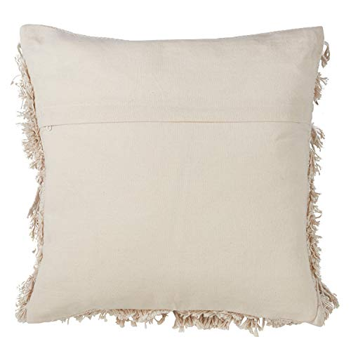 Fennco Styles Handira Collection Contemporary Morocca 100% Pure Cotton 18 x 18 Inch Decorative Throw Pillows with Case & Insert - Ivory Decor Pillows for Couch, Bedroom and Living Room Décor