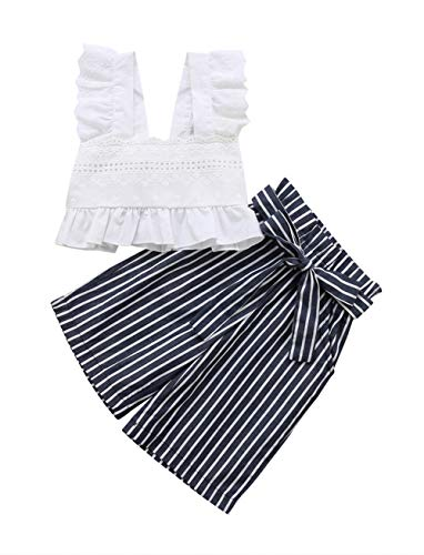 Styles I Love Baby Toddler Girl White Fashion Cotton Crop Top and Pants Summer Casual Outfit