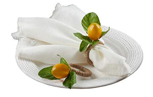 Fennco Styles Decorative Lemon with Vine Design Napkin Rings, Set of 4