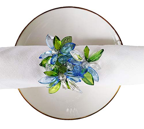 Fennco Styles Unique Multi-Flower Crystal Design Decorative Napkin Rings, Set of 4