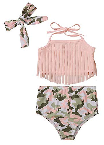 Styles I Love Infant Baby Girls Pink Camouflage Fringe Bikini Swimsuit and Headband 3pcs Bathing Suit Beach Swimwear