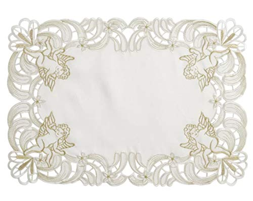 Fennco Styles Cupidon Collection Embroidered Cupid Design Tablecloth
