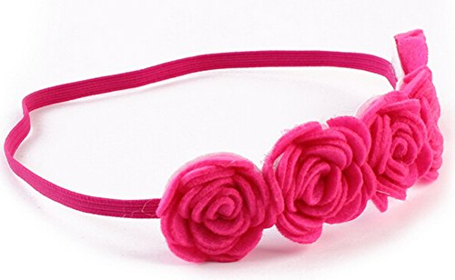 StylesILove Baby Girl Rose Flower Candy Color Headband with Ribbon