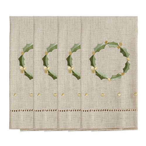 Fennco Styles Embroidered and Hemstitched Design Wreath Linen-Poly Guest Towels 14 x 22 Inch, Set of 4