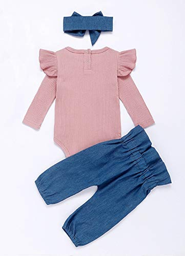 Styles I Love Baby Toddler Girls Pink Long Sleeve Ribbed Ruffle Romper and Blue Bow Pants with Headband 3pcs Cotton Outfit