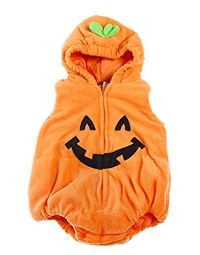 stylesilove Infant Toddler Halloween Baby Kids Fleece Pumpkin Costume Comfy Jumpsuit