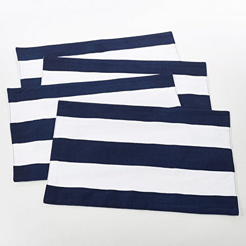 Fennco Styles Saint John Collection Striped Design Cotton Placemats - Nvay Blue (Set of 4)