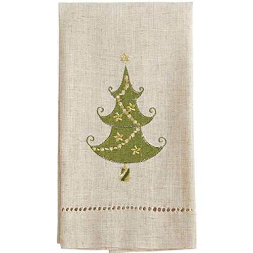 Fennco Styles Embroidered and Hemstitched Design Lighted Christmas Tree Linen-Poly Guest Towels 14 x 22 Inch, Set of 4 – Natural Modern Hand Towels for Bathroom Decor, Bar Accessories, Wedding Gift