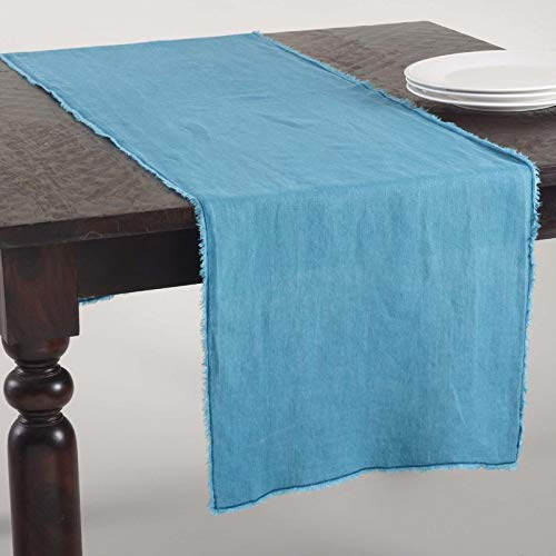 "Fennco Styles Graciella Fringed Stone Washed Design Table Runner - 16""x72"" - 9 Colors (Ocean Blue)"