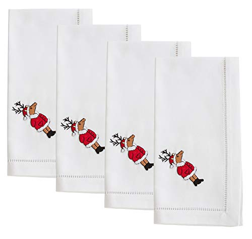 Fennco Styles Holiday Cotton Embroidered Reindeer 20 Inch Square Dinner Napkins, Set of 4 - White Festive Cloth Napkins for Dining Table, Christmas Parties & Home Decor