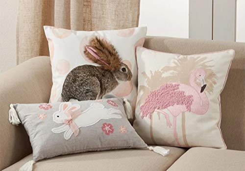 Fennco Styles Cute Bunny Bubble Decorative Throw Pillow - Faux Fur Pink Pillow for Home, Couch, Living Room, Bedroom and Easter Décor