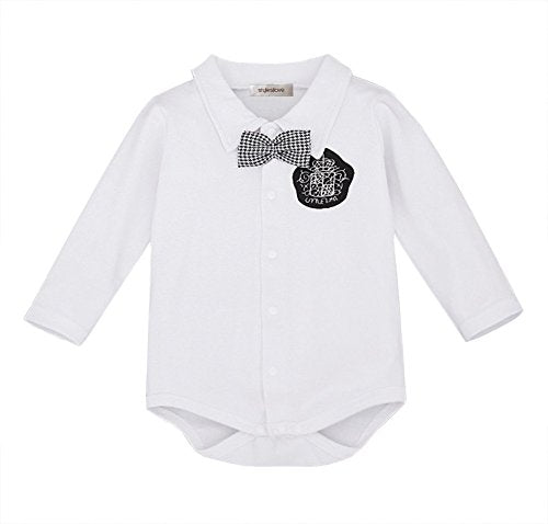 stylesilove Infant Toddler Young Kids Adorable Badge Bowtie Baby Boy Romper Shirtzie, 2 Colors