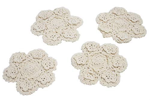 Fennco Styles Handmade 3D Flowers Crochet Lace Cotton Round Doilies, Set of 4