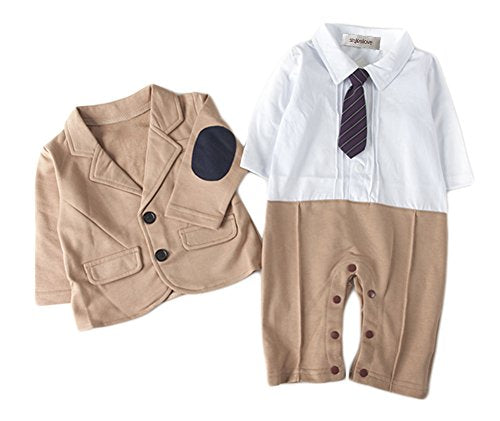 stylesilove Infant Toddler 2PC Boy Romper Suit with Elbow Patches Jacket
