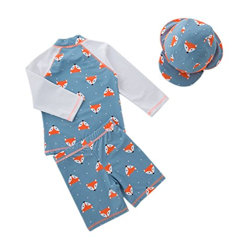 StylesILove Little Boys Fox Printed Rash Guard and Swim Shorts with Sun Hat 3 pcs Swimsuit Beach Swimwear