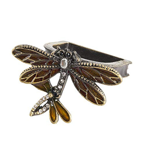 Fennco Styles Nature's Touch Collection Vintage Jeweled Dragonfly Metal Napkin Rings, Set of 4 – Bronze Napkin Rings for Family Diner, Themed Party and Table Décor