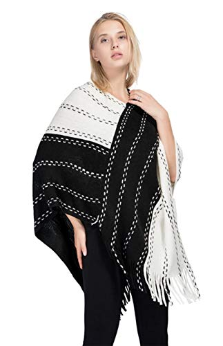 StylesILove Women Two-Tone Asymmetrical Fringed Knitted Poncho Cardigan Cozy Wrap Jacket for Fall and Winter