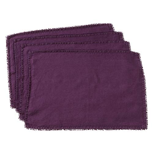 "Fennco Styles Pomponin Collection Pom Pom Design Placemats 100% Linen (14""x20"" Placemat, Purple)"