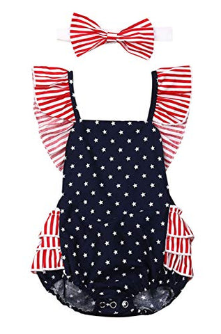 Styles I Love Infant Baby Girl Stars Printed Stripes Ruffle Open Back Romper Sunsuit with Headband 2pcs Set Patriotic Outfit