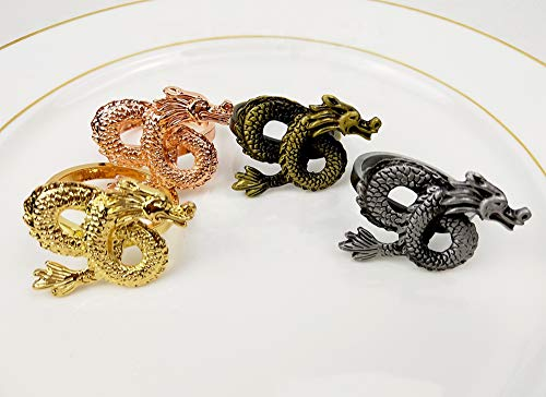 Fennco Styles Antique Dragon Metal Napkin Rings, Set of 4