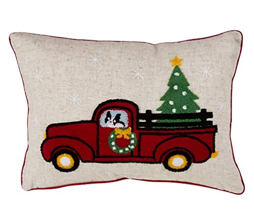 "Fennco Styles Holiday Tree in Red Truck Vintage Decorative Down-Filled Throw Pillow 14"" W x 20"" L - Multicolored Cushion for Home, Couch, Living Room, Office and Christmas Decor"