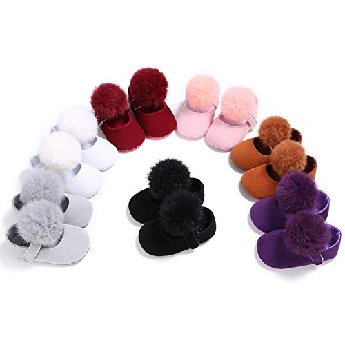 stylesilove Infant Baby Girl Cute Pom Pom Solid Ballet Soft Sole Anti-Slip Crib Shoes Pre-Walker Shoes 0-18M, 5 Colors