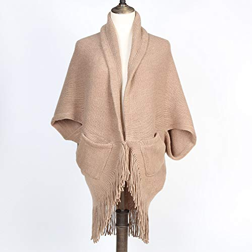 StylesILove Women Knitted Open Front Fringe Poncho Cardigan with Pockets Taupe Cozy Sweater Wrap Jacket
