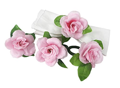 Fennco Styles Handmade Rose Decorative Napkin Rings, Set of 4 - Pink Flower Napkin Holders for Dining Table, Banquets, Wedding, Holiday Decor and Special Events