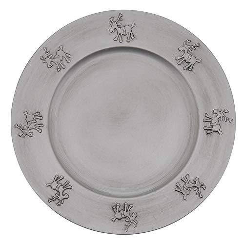 "Fennco Styles Festive Reindeer Design Decorative Charger Plates 13"" Round, Set of 4"