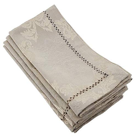 Fennco Styles Paloma Drawnwork Damask Dinner Napkins,Set of 4 (Taupe)