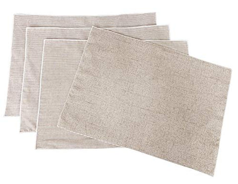 "Fennco Styles Reversible Striped Design 100% Pure Cotton Placemats 13"" W x 19"" L, Set of 4 - Neutral Table Mats for Home Décor, Dining Room, Banquets, Everyday Use and Special Occasions"
